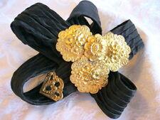 ANTIQUE EDWARDIAN BLACK SATIN PLEATED V BELT W GILT GOLD BRASS FLORAL REPOUSSE
