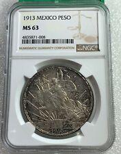Mexico 1913 Silver Caballito Peso NGC MS 63 Nice Toning Free Shipping