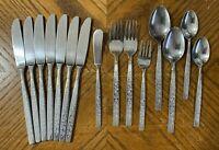 Stanley Roberts DORMEL Stainless Knives Forks Spoons Teaspoons Japan Lot of 15