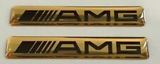 2x MERCEDES AMG Logo 3D Domed Stickers. Size 60x10mm. Golden.