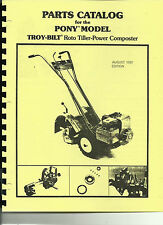 Troy Bilt Pony Tiller Parts Catalog/Manual 1981