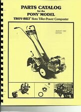 Troy Bilt Pony Tiller Parts Catalog/Manual 1981