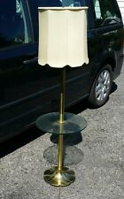 Vintage Glass Table Floor Lamp Mid Century Leviton Brass or Cast - Heavy Works