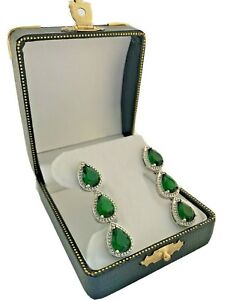 White gold finish pear cut green emerald and created diamond droplet earrings