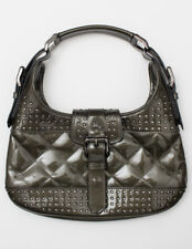 BURBERRY Patent Leather Quilted Studded Brook Handbag Gray Satchel