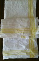 Vintage 1940s Cotton Kitchen Dishtowel Handtowel Pair Bright Yellow Trim As Is