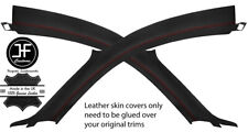 RED STITCH 2X A PILLAR LEATHER COVERS FOR AUDI TT MK1 98-06 COUPE STYLE 2