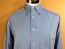 Ermenegildo Zegna LS Button Front Shirt Blue Cotton sz 16 1/2 Made Italy 42 cm