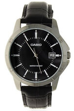 Casio Men's Analog Quartz Stainless Steel Black Leather Watch MTPV004L-1A