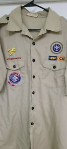 Boy Scouts BSA of America Vtg Official Uniform Shirt Men' Size XL-G With PATCHES
