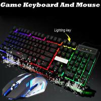 Gaming Keyboard +Mouse Set Game LED Backlight Rainbow USB Illuminated PC Laptop
