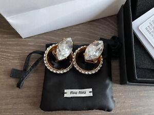 BNIB Miu Miu By Prada Massive Crystal Marquis Gold Clip Earrings Rare W/ Tags