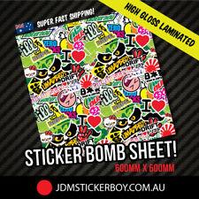 STICKER BOMB SHEET GREEN 600MM X 600MM STICKERBOMB WRAP Car  #1527K