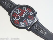GUESS 1987 Women's Retro Watch Black Rubber Strap Large Numbers