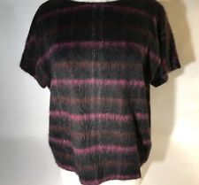Kenzo $1389 Navy Purple Wool Alpaca Blend Fury Short Sleeve Sweater Wms 42 Large