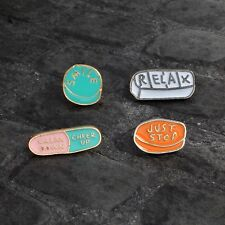 Chill Pill Pin Set of 4 Tumblr Girl Drugs Aesthetic Grunge Witch Goth Meds Punk