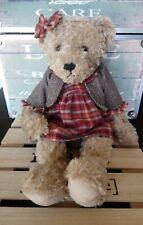 Peluche ours robe tissu écossaise gilet tweed collection Louise Mansen 40 cm