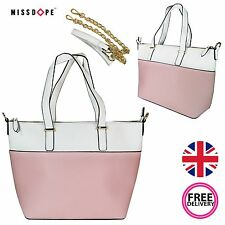 NEW PINK WHITE BLOCK HANDBAG WOMENS SHOULDER FAUX LEATHER GOLD COLOR TOTE LADIES