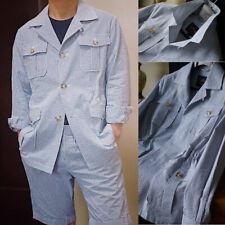 Safari Jackets For Men Seersucker Summer Causal Wear Leisure Slim Fit 2Pcs Suits