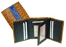 Tan Crocodile Embossed Credit Card ID Window Leather Men's Trifold Wallet New