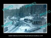 OLD HISTORIC PHOTO OF KEDDIE CALIFORNIA WESTERN PACIFIC RAIL ROUNDHOUSE c1930