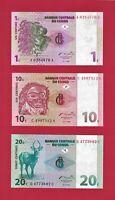 1997 CONGO UNC NOTES: 1 Centime (P-80a), 10 Centimes P-82a, & 20 Centimes P-83a