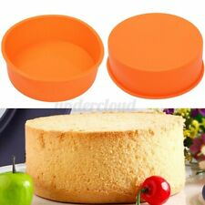"""7"""" Round Silicone Birthday Cake Mould Pan Muffin Chocolate Baking Tray Mold"""