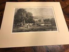 "antique 1885 Etching ENGRAVING ""Bolton Abbey"" artist David Cox engraver S. Myer"