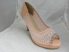 Pink Mesh Peep-toe Heels With Diamante Detail UK6 EU39 JS11 88