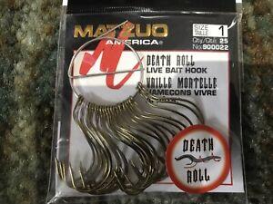 25 Matzuo 900022 Bronze Live Bait Death Roll Fish Fishing Hooks size 1