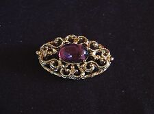 """Estate Vtg Signed 1 1/2"""" Gold Tone Purple Moonstone Cabochon Tiered Brooch Pin"""