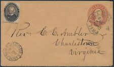 #15L18 ON COVER W/ 3¢ ENTIRE #U9 POSITION #40 GOING TO CHARLESTOWN, VA BS3155
