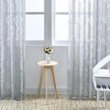 2x Fenster Gardinen Vorhänge Für Wohnzimmer Schlafzimmer Aus Polyester Grau