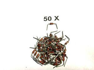 BAT46, 100V, 150 mA, SI, Schottky-Dioden, DO35, vorgebogen auf, RM10,  50 Stück