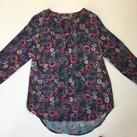 Sussan Dark Grey with Florals Long Sleeve Collarless Tunic Shirt, Size 8