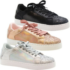 Ladies Glitter Sneakers Womens Plimsolls Lace Up Trainers Flats Pumps Shoes Size