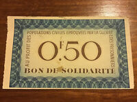 Rare Bon De Solidarite Banknote. France 50 Centimes. Vintage / Collectible Note