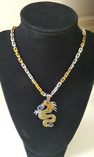 Cool Dragon Pendant Necklace Silver Gold 2 Tone NEW NWOT