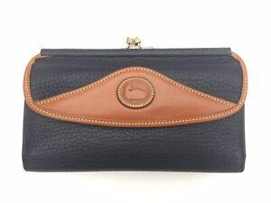 Dooney & Bourke Vintage Checkbook Organizer Wallet Clutch Navy Blue Tan USA W74