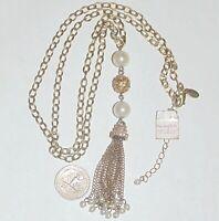 Signed lia sophia faux pearl rhinestone crystal long tassel pendant necklace