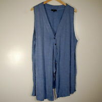 Comfy USA Zoey Vest Cardigan Sleeveless Striped Blue White Plus Size 1X