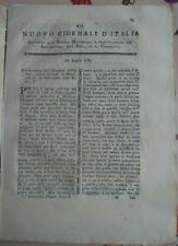 1789 RIVISTA NUOVO GIORNALE D'ITALIA: RAPE MONTECCHIO EMILIA E CALCINA AGRICOLA