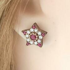 Deco 1.10ctw Ruby & Diamond Cut White Sapphire 14K Yellow Gold Silver Earrings