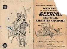 1913 owner manual Deering New Ideal Harvester Ih vintage farm equipment prices