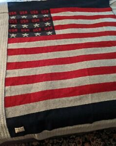 "Woolrich Wool USA Flag warm Throw Rug Blanket Size 50"" X 63"" EUC stars Stripes"