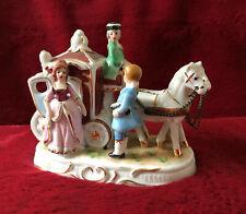 alte Porzellan-Kutsche,2 Pferde und 3 Figuren, Kronen-Marke ?, Sammler - Rarität
