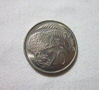 New Zealand. 20 Cents, 1971. Queen Elizabeth II. Kiwi Bird.