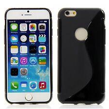 Apple iPhone 6 (4,7) Silikon Case Handytasche Schutz Ring Hülle Schwarz +Folie
