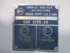 Nameplate Lancia Plate Alu-Sign Fulvia Coupe 1,3 S 2. Series Id-Plate S50