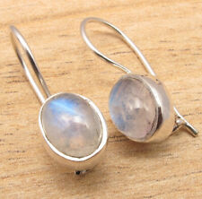 Moonstone Earrings High Quality Art Jewelry 925 Silver Plated Blue Fired Rainbow